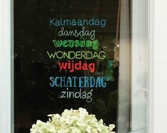 Windowdrawing dutch days of the week