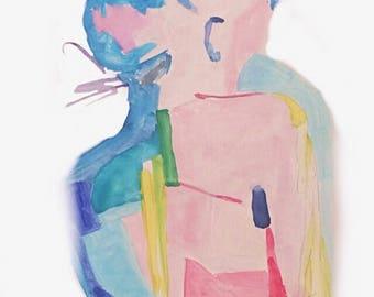 "Abstract Figure Painting/ Print Modern Art,  8x10"", Office Decor, Office Print, Art for an office"