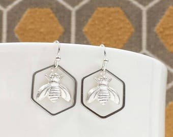 Bumble Bee and Honeycomb Earrings, Honey Bee Earrings, Honeycomb Earrings, Silver Bee, Hexagon Earrings, Gift for Her