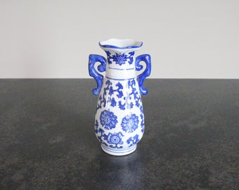 Chinoiserie Blue and White Vase