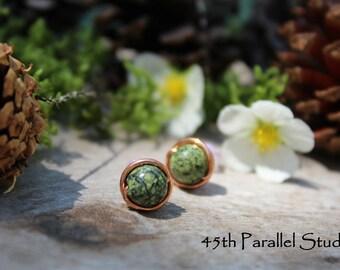 Green Serpentine Copper Stud Earrings, Copper Earrings, Stud Earrings, Green Earrings, Serpentine, Copper Wire Earrings, Bead Earrings