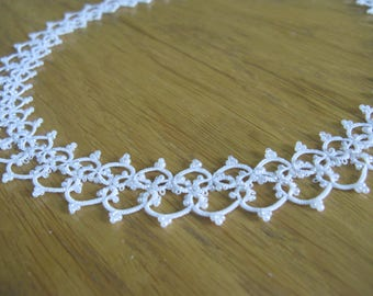Tatted lace necklace Wedding jewelry for bride Wedding necklace White necklace