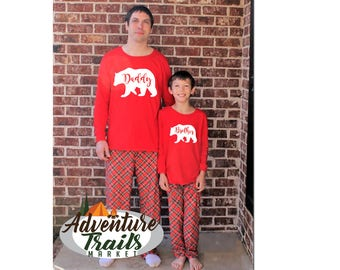Matching Family Christmas Pajamas, papa bear pajamas, Christmas Eve set, holiday pyjamas, bear family pajamas, family bear jammies,