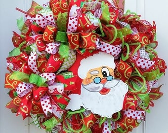 Christmas Wreath, Santa Wreath, Xmas Wreath, Best Door Wreath, Porch Christmas Wreath, Santa Door Decor, Santa Wall Decor, Santa Porch Decor
