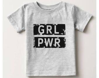 Girl Power B&W Baby T-Shirt - Heather Grey