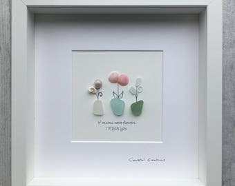 Sea glass and pebble art - if mums were flowers