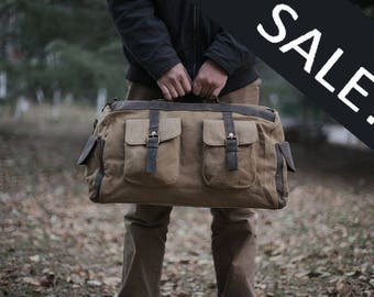 Khaki Canvas Leather Duffel Bag/ Weekender Bag/ Carry-on Bag/ Gym Bag/ Multi-Purpose