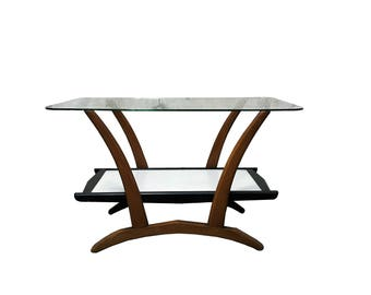 Mid century two tier teak wooden coffee table with glass top 1960s - formica coffee table - vintage design side table from the 1960s