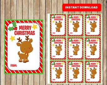 Printable Christmas Gift Tags - Christmas Favor Tags - Christmas present tags - Reindeer tags - Instant Download