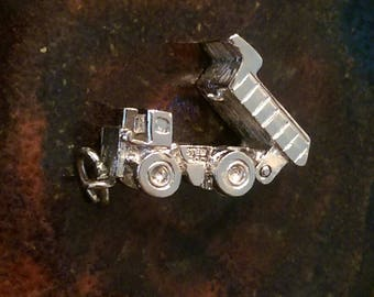 Vintage sterling silver mechanical dump truck charm necklace pendant or keychain charm