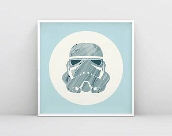 Printable Stormtrooper Art, Pastel Stormtrooper Poster, Stormtrooper Wall Art, Star Wars Poster, Best Star Wars gift, Star Wars Merchandise