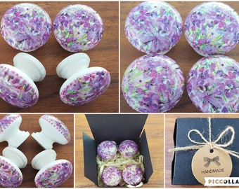 Set of Four Vintage Shabby Chic Hand Decorated Lilac and White Floral Pine Drawer Knobs Pulls