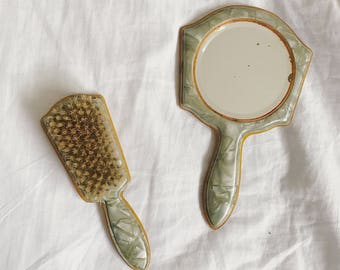 Antique 1920's marbled green mini vanity hand held mirror and brush