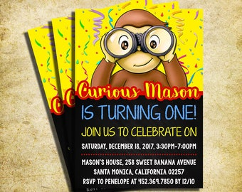 Curious George Invitation - Curious George Chalkboard Birthday Invite - Printable And Digital File