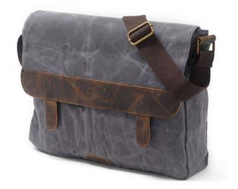 Waxed Canvas Messenger Bag / Leather Messenger Bag / Laptop Messenger Bag / Men Messenger Bag / Messenger Bag Men / Satchel / Briefcase men