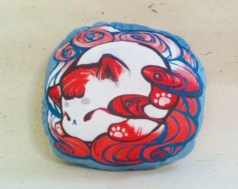 "Double sided cushion || Minky cushion || Kitsune || Nine tailed fox || character cushion || pillow || decor || Japanese yokai || 12"""