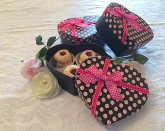Raspberry Thumbprint Cookies in a Valentine's Day Heart Box, Valentine's Gifts for her, Nut Free Sugar Cookies, Valentine's Gifts under 20