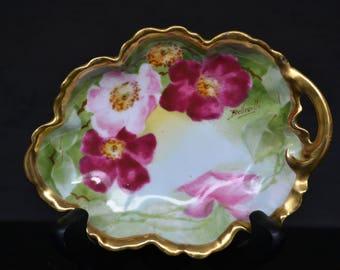 Limoges Coronet Hand Painted Gold Edged Trinket Dish - Signed Belleville