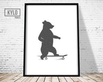 Bear Print, Nursery Wall art, Nursery Bear Print, Funny Bear Print, Cute Bear Art, Bear on a Skateboard Print, Animal Print, Nursery Animal