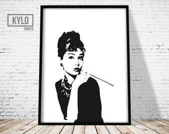 Audrey Hepburn Print, Wall Art, Home Decor, Audrey Hepburn, Printable Art, Audrey Hepburn Art, Audrey Hepburn Portrait, Instant Download