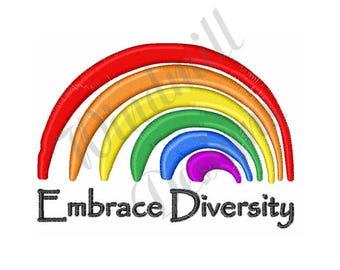 Rainbow Diversity - Machine Embroidery Design