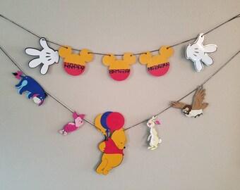 Winnie the pooh Disney resort window decor,  Winnie the pooh and friends, happy Birthday banner, happy Birthday garland,  Disney, eeyore