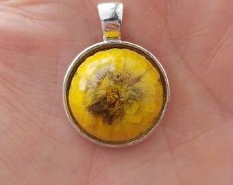 Beautiful yellow real mum flower pendant