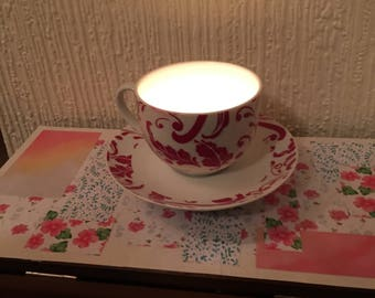 Vintage style teacup and saucer candle holder