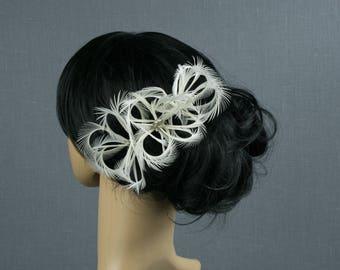 Bridal Hair Piece Feather Bridal Acessories Floral Bridal Hair Comb Wedding Comb Clip Bride Head Piece Custom Bridal Accessories Fascinator