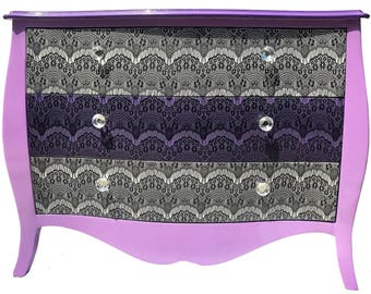 Lavender, Purple Sky & Cream Bombay Dresser Decorated in Black Eyelash Lace- Functional Art- Modern-Gothic-Victorian-Hollywood-Traditional