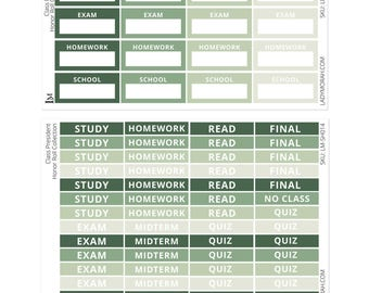 Exam Planner Stickers - Green - Planner Stickers - 2 Sheets