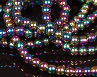1 row of 70 4mm iridescent gold electroplate glass beads