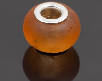 10 orange translucent glass - 28304 European style beads