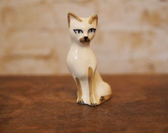 Vintage Ceramic Siamese Cat Ornament