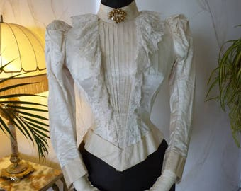 1890 Wedding Bodice, antique dress, antique gown, Victorian Dress