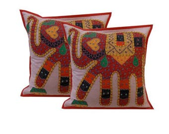 Elephant Motif Patchwork cushion covers, Indian Cotton Throw Pillow Cushion Covers 16 X 16 Inches Set of 2 Pcs