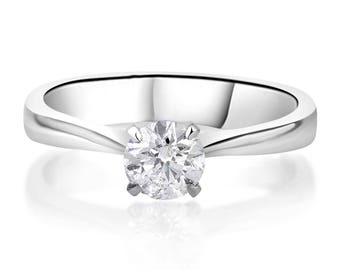 Diamond Solitaire Engagement Ring; 1/3 Carat Real Diamond Engagement Ring; 14K Minimalist Ring Tiffany Style; White Gold Plain Band Ring