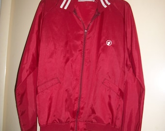 Vintage 70s, 80s Holloway Red Nylon Windbreaker, Baseball Jacket Size M