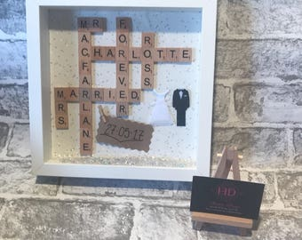 personalised wedding gift-wedding shadow box art-mr and mrs-anniversary gift-scrabble tiles-wall art-custom wedding-valentines gift-