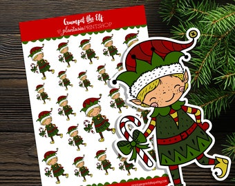 Crumpet the Elf, Elf Stickers, Planner Stickers, Christmas Stickers, Plantasia PrintShop, Christmas Elves, Candy Canes, Hand Drawn, Doodle