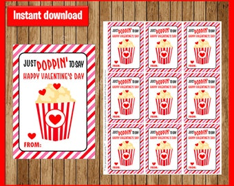 Printable POPCORN VALENTINE Cards, Just Popping To Say , Popcorn Valentineu0027s  Day Cards Instant Download