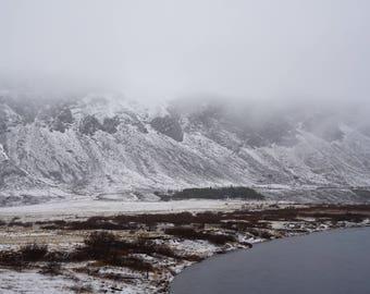 "Fine Art Iceland Landscape Photography Wall Decor 4""x6"" prints | Iceland Snow Mountain Thingvellir (Þingvellir) National Park"