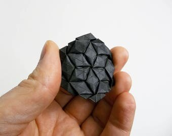 Hexagon for Tessellations, black, elephant hide, origami, paper