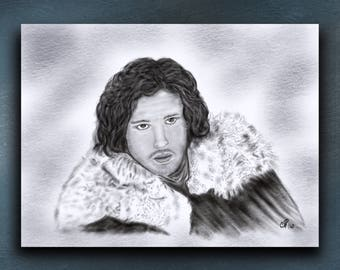 Game of Thrones Jon Snow Khaleesi Daenerys Targaryen drawing,Portrait,Game Of Thrones, Fan Art, Signed Print