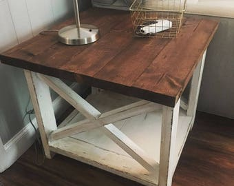Rustic X Farmhouse End Table