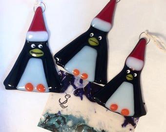 1x Cute Christmas Penguin Original Fused Glass Xmas Decorations unique,gift,hanging,trinket,black,red,santa hat,christmas tree decoration