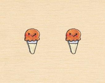 Set of 2 pcs Mini Orange Ice Cream Iron On Patches Sew On Appliques
