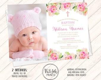 Baptism Invitation, Girl Christening Invitation, Pink Baptism Invitation Printable,  Pink Floral Christening Invitation