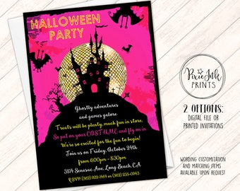 Halloween Party Invitation, Halloween Birthday Party Invitation, Spooky House Invite, Pink & Gold Halloween Invite, Halloween Dance Invite