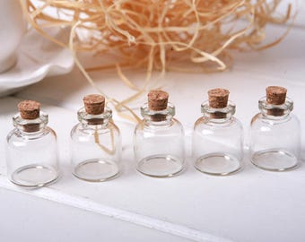 5pcs 4ml Small Glass Bottle Vials with Cork Stopper,Glass Jars